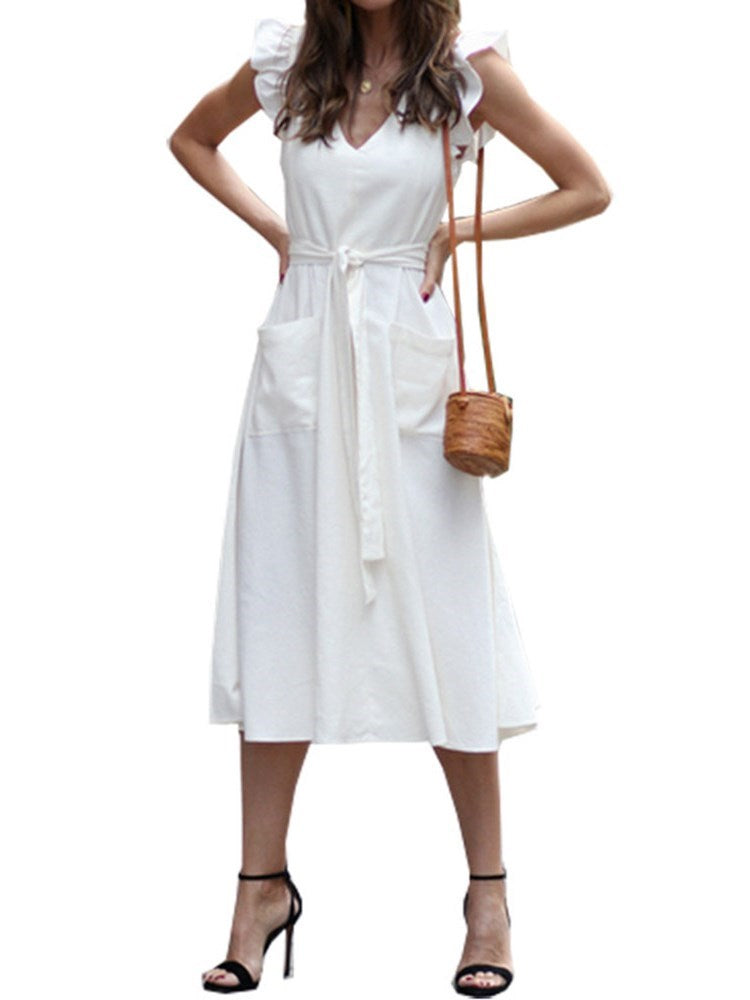Cap Sleeve Mid-Calf Stringy Selvedge Expansion Mid Waist Dress