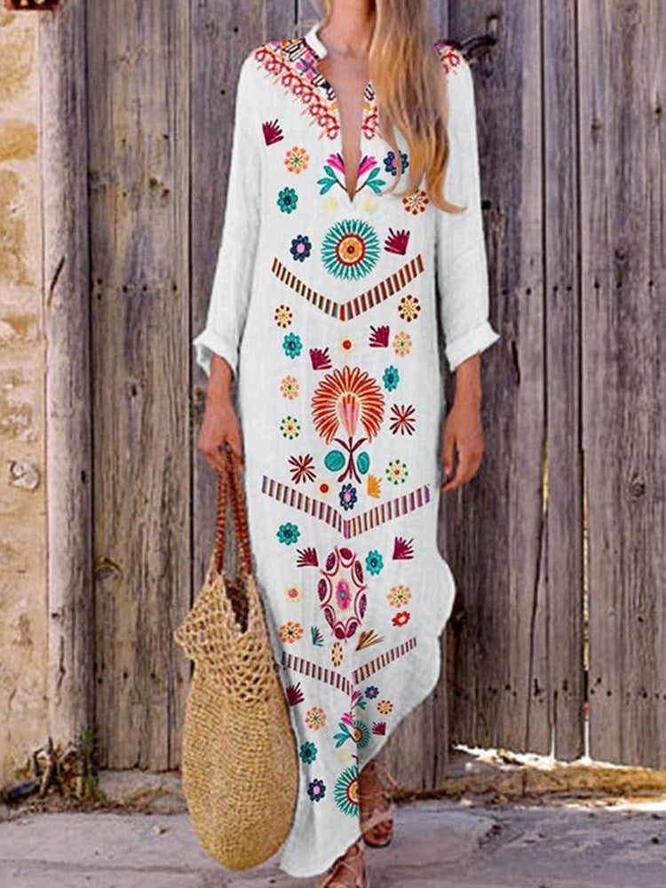 Long Sleeve Floor-Length Print Floral Pullover Dress