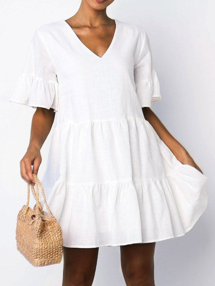 Short Sleeve Pleated V-Neck Sweet Flare Sleeve Dress