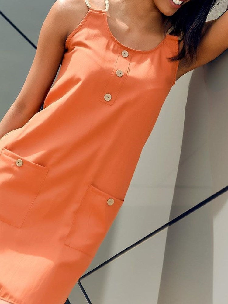 Above Knee Sleeveless Button Pullover Plain Dress
