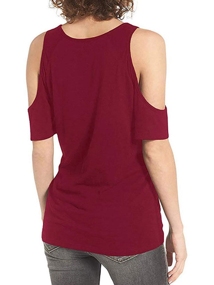 Plain Mid-Length Round Neck Slim Office Lady T-Shirt