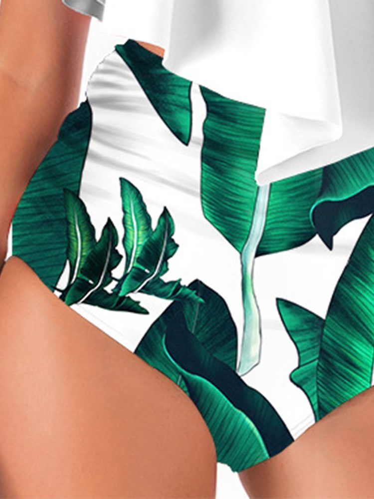 Print Color Block Western Swimwear