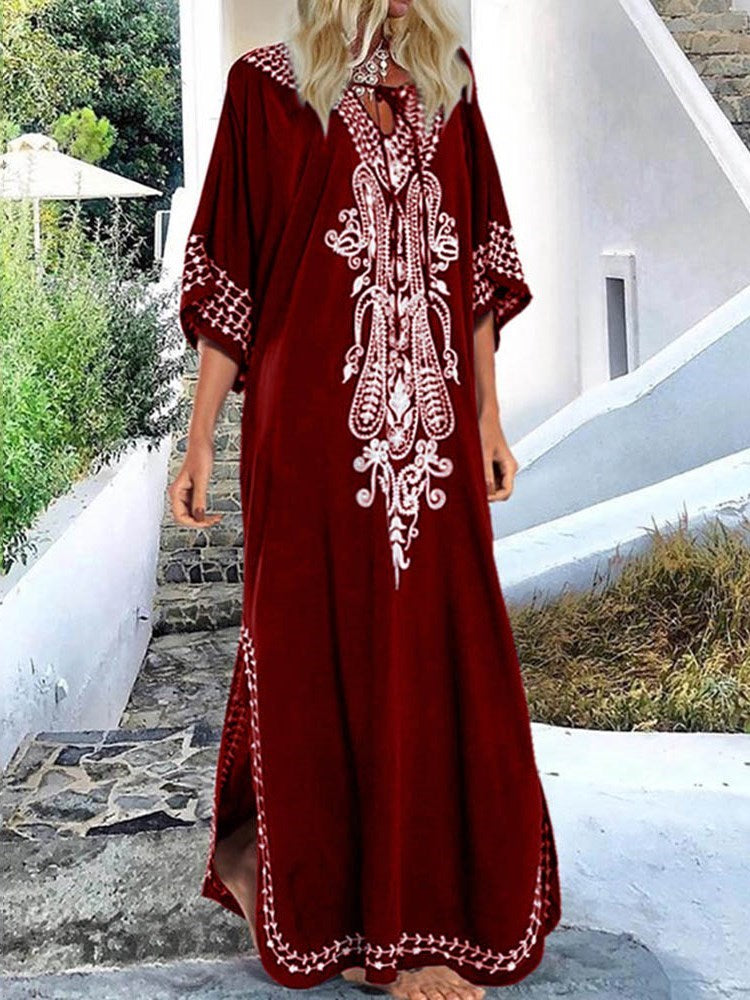 Floor-Length Print Three-Quarter Sleeve A-Line Pullover Dress