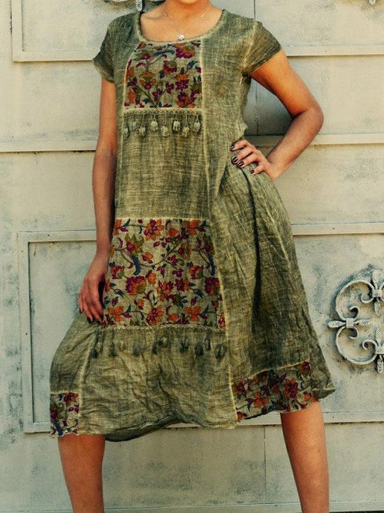 Print Round Neck Mid-Calf Floral A-Line Dress