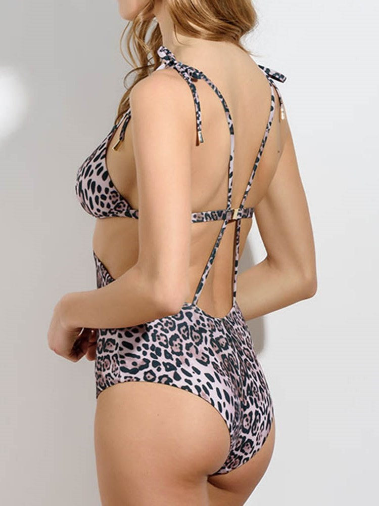 Lace-Up One Piece Leopard Swimwear