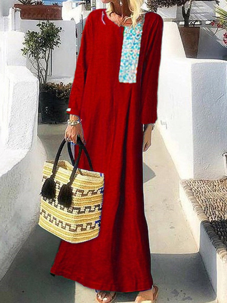 Print Ankle-Length Long Sleeve Floral Pullover Dress