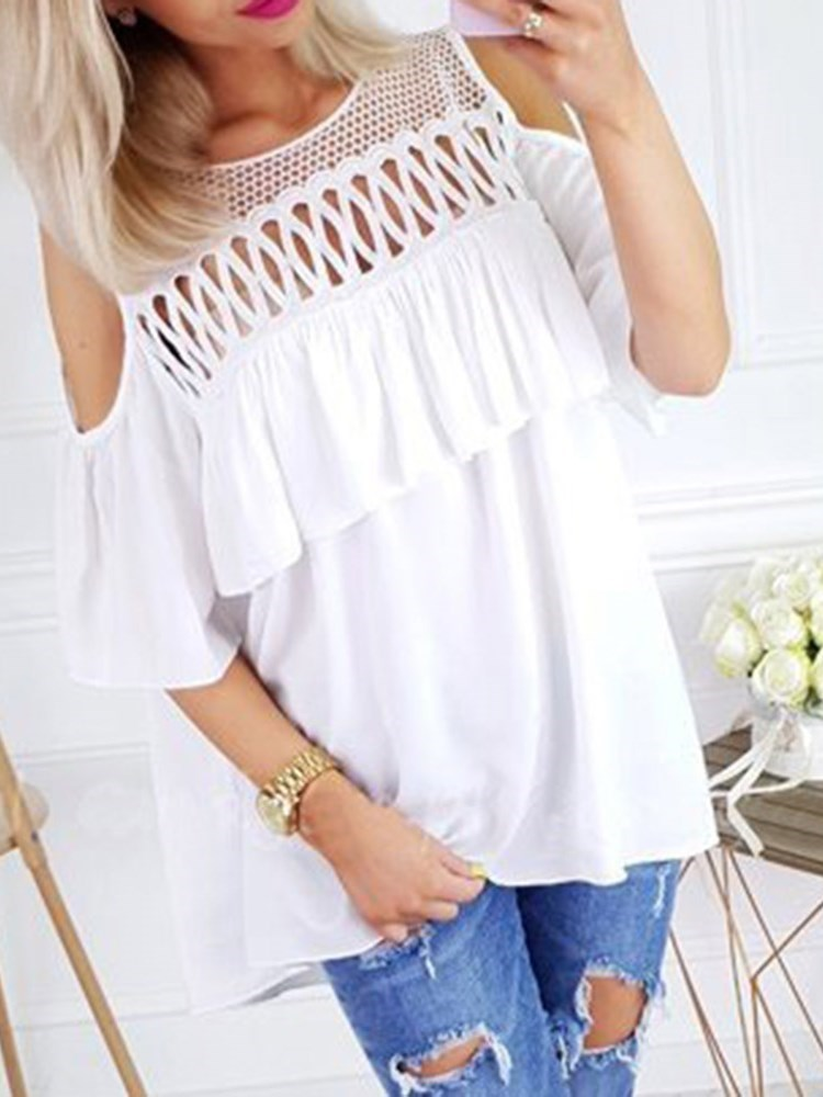 Round Neck Falbala Plain Mid-Length Half Sleeve Blouse