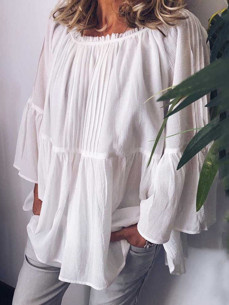 Pleated Plain Round Neck Long Sleeve Mid-Length Blouse