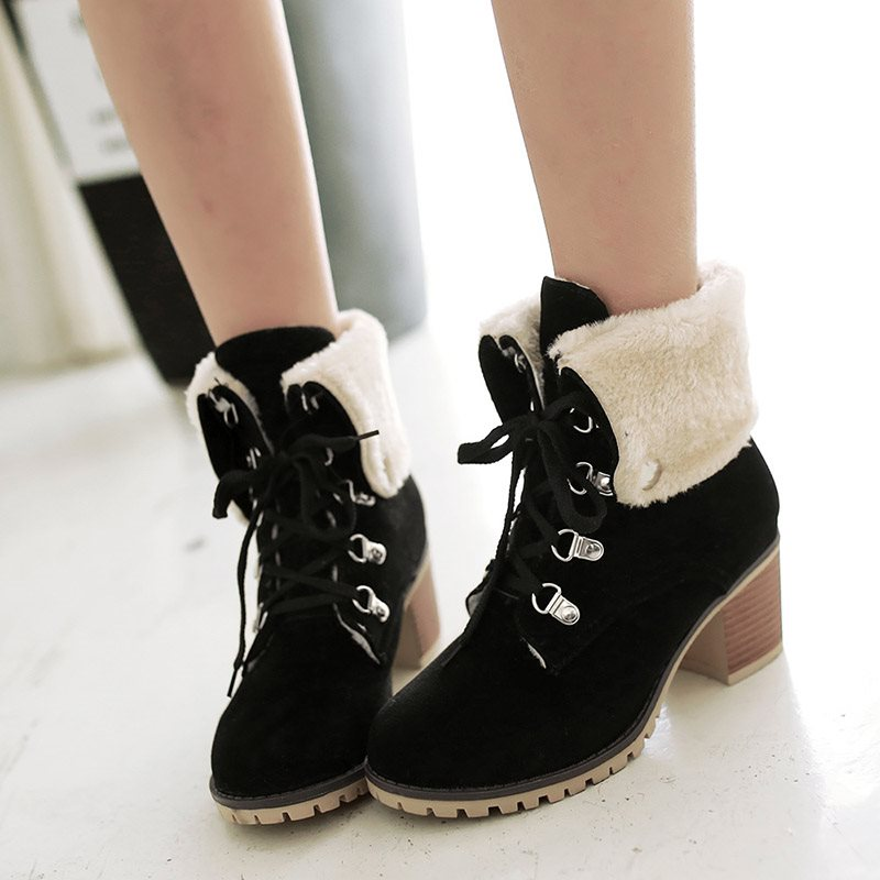 Chunky Heel Lace-Up Front Round Toe Plain Casual Purfle Boots