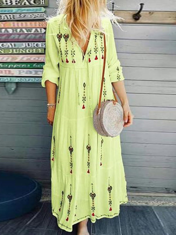 V-Neck Long Sleeve Ankle-Length Pullover Summer Dress