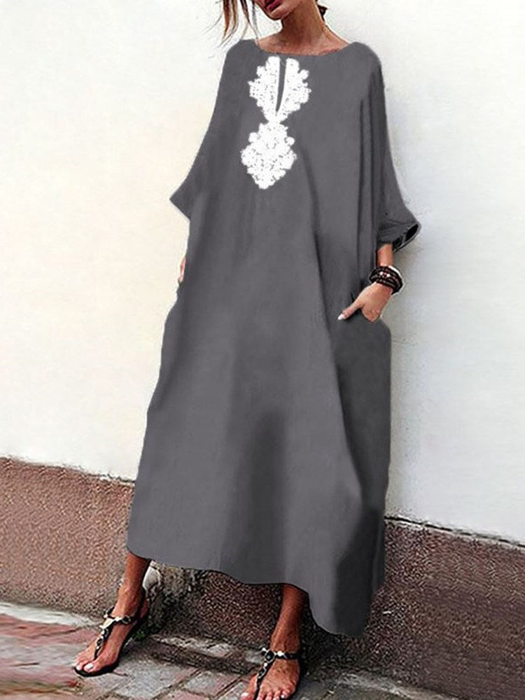Round Neck Ankle-Length Print Pullover A-Line Dress