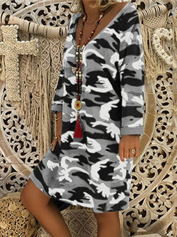 Long Sleeve Print Above Knee Leopard Regular Dress