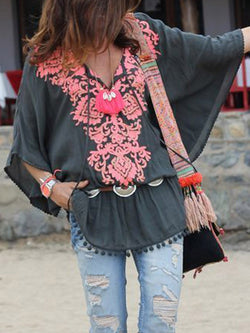 Color Block Patchwork V-Neck Mid-Length Three-Quarter Sleeve Blouse