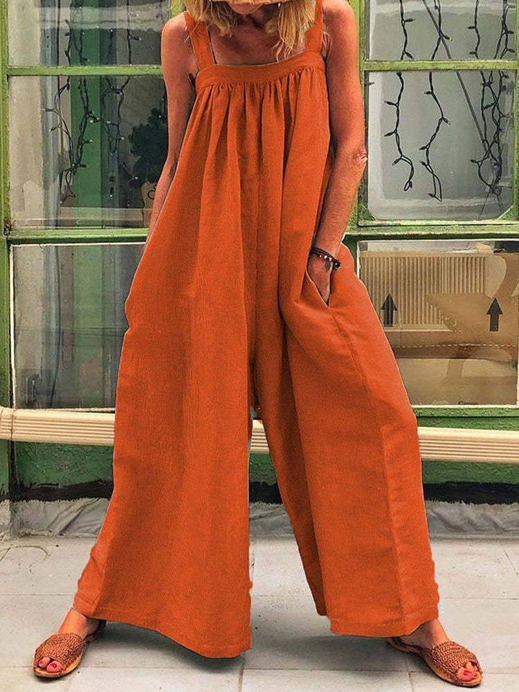 Western Plain Full Length Wide Legs Loose Jumpsuit