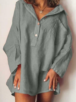 Plain Button Long Sleeve Mid-Length Blouse