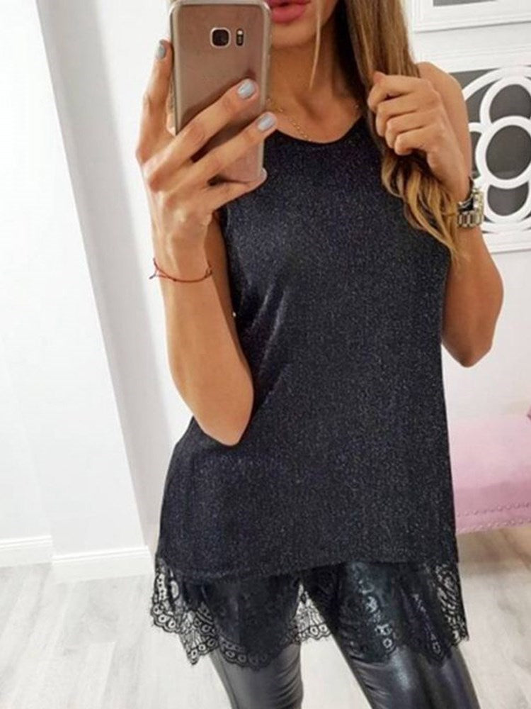 Lace Summer Polyester Mid-Length Tank Top