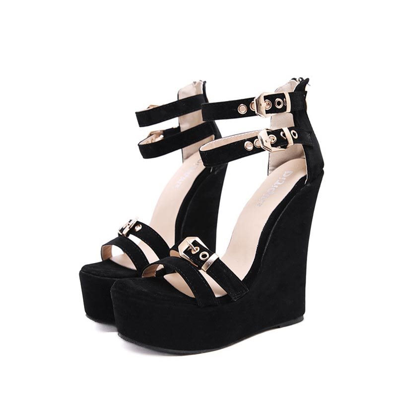 Heel Covering Zipper Wedge Heel Open Toe Platform Plain Sandals