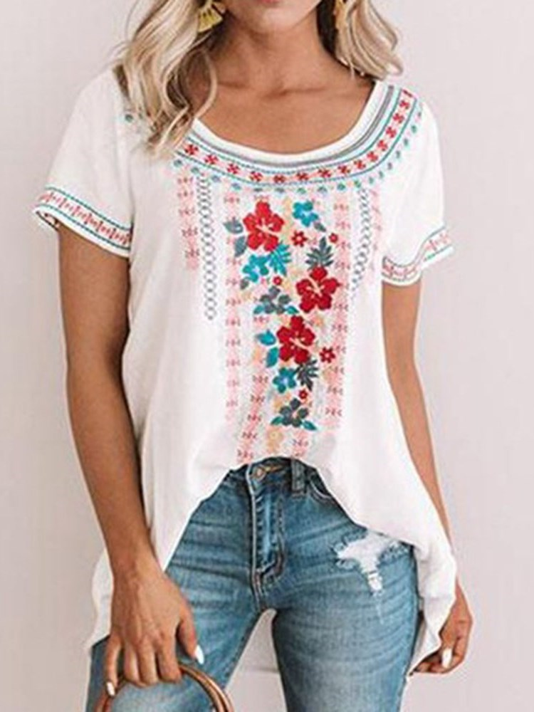 Floral Round Neck Print Standard Short Sleeve Blouse