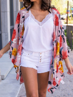 Floral Print Three-Quarter Sleeve Mid-Length Blouse
