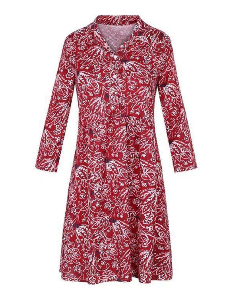 Knee-Length Round Neck Print Summer Straight Dress