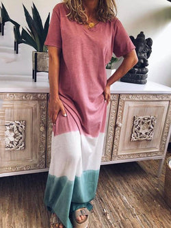 Floor-Length Short Sleeve V-Neck Color Block Pullover Dress