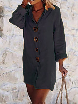Button Long Sleeve Above Knee Plain Straight Dress