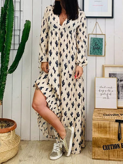 Floor-Length V-Neck Print Fashion Pullover Dress