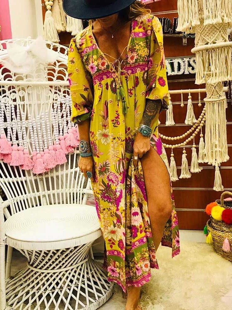 Ankle-Length Three-Quarter Sleeve Print Pullover High Waist Dress
