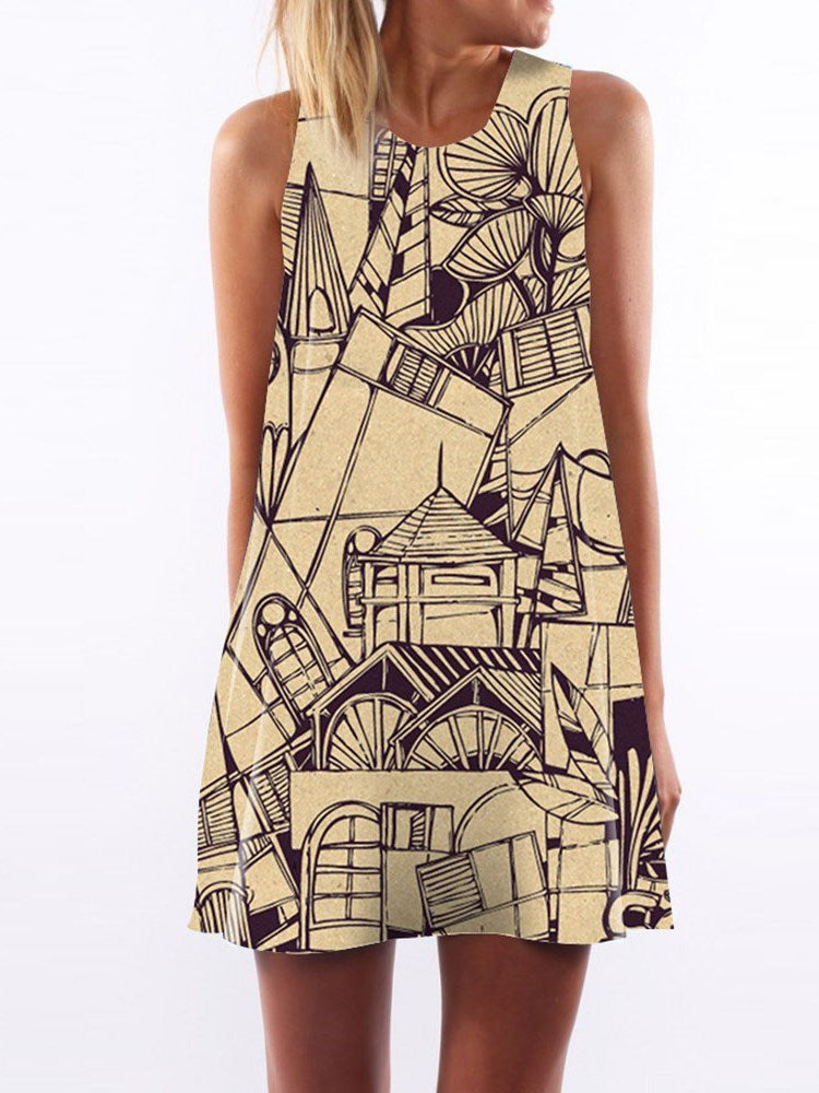 Print Above Knee Round Neck Summer A-Line Dress