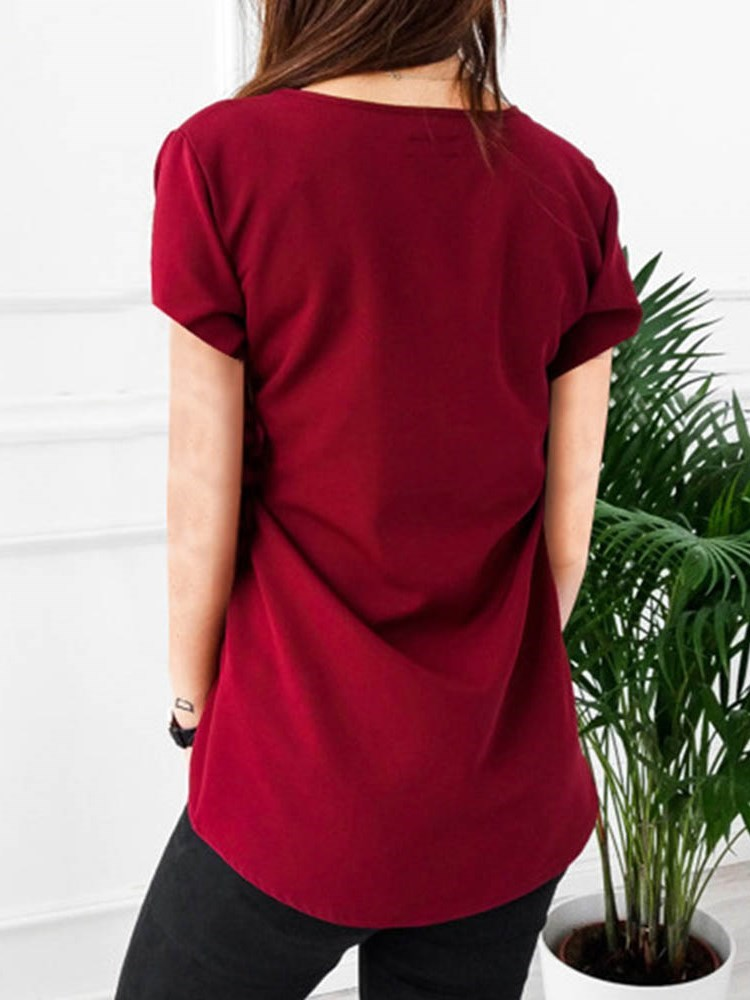 V-Neck Plain Mid-Length Casual Loose T-Shirt