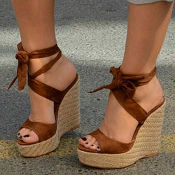 Open Toe Wedge Heel Lace-Up Ankle Strap Casual Casual Sandals