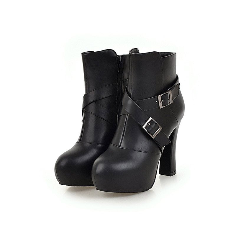 Plain Side Zipper Round Toe Chunky Heel Casual Buckle Boots