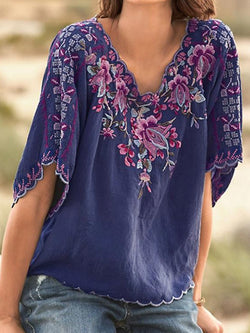 V-Neck Floral Embroidery Three-Quarter Sleeve Standard Blouse