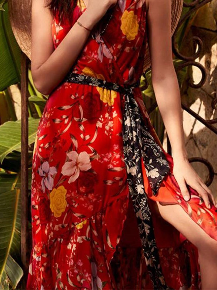 Ankle-Length Sleeveless Print Floral Pullover Dress
