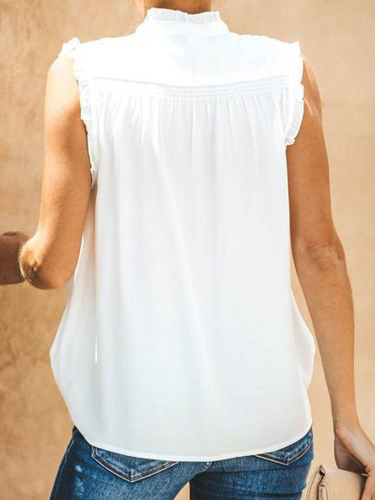 Regular Plain Button Sleeveless Standard Blouse