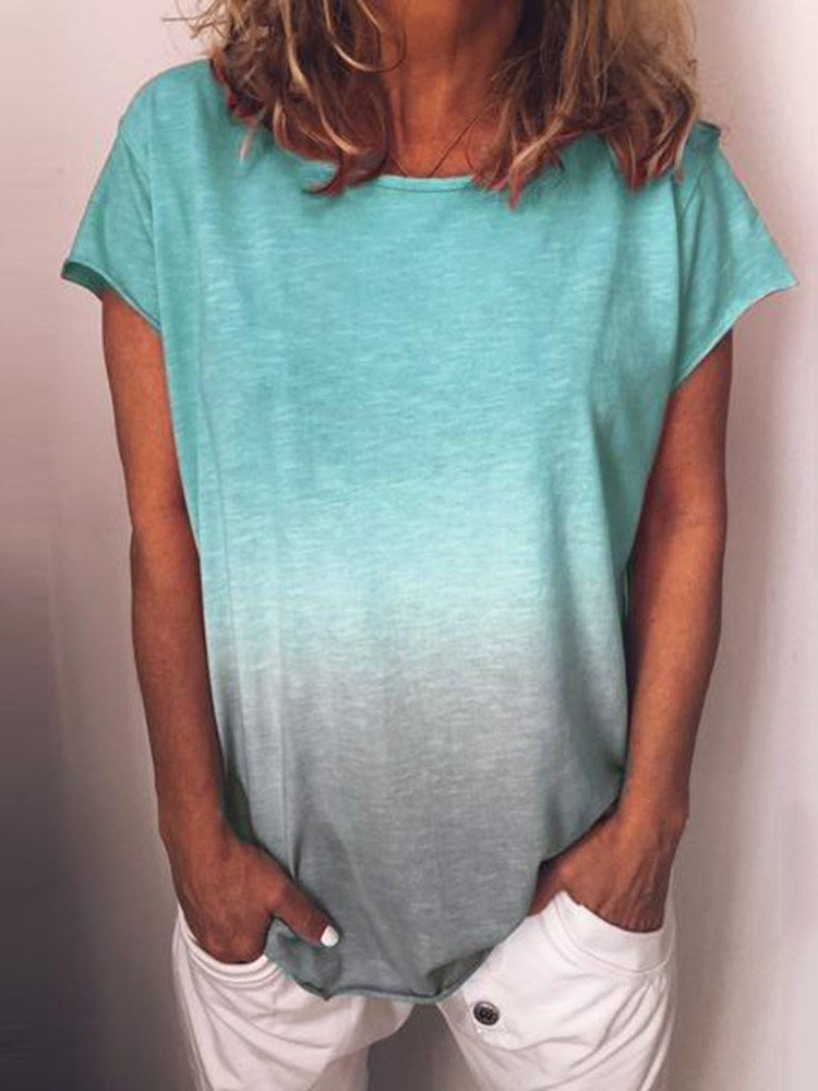 Short Sleeve Mid-Length Gradient Casual Loose T-Shirt