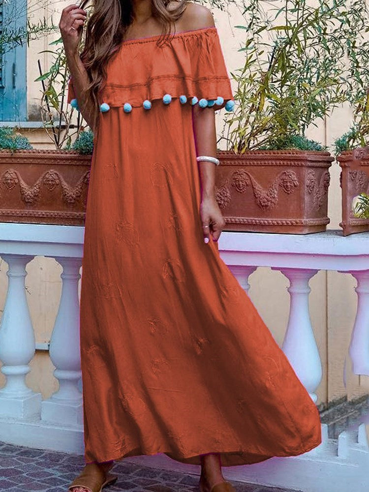 Falbala Off Shoulder Ankle-Length Plain Travel Look Dress