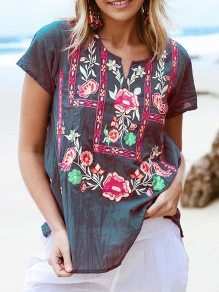 Short Sleeve Floral Mid-Length Loose Casual T-Shirt