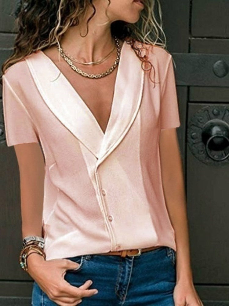 Plain Regular V-Neck Standard Short Sleeve Blouse