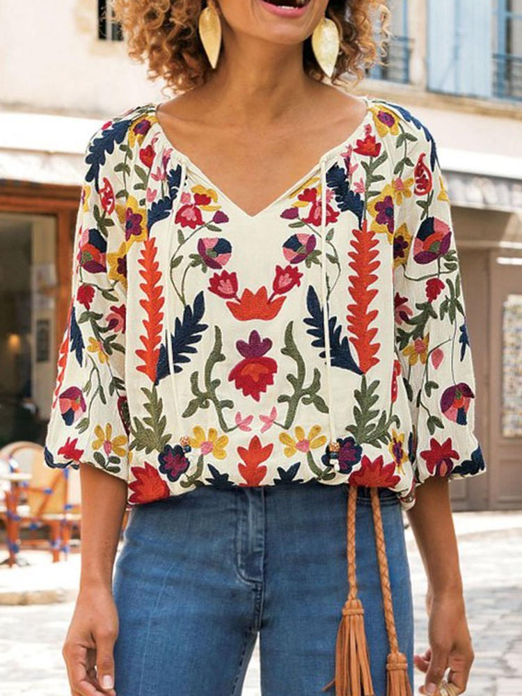 Print V-Neck Lantern Sleeve Standard Three-Quarter Sleeve Blouse