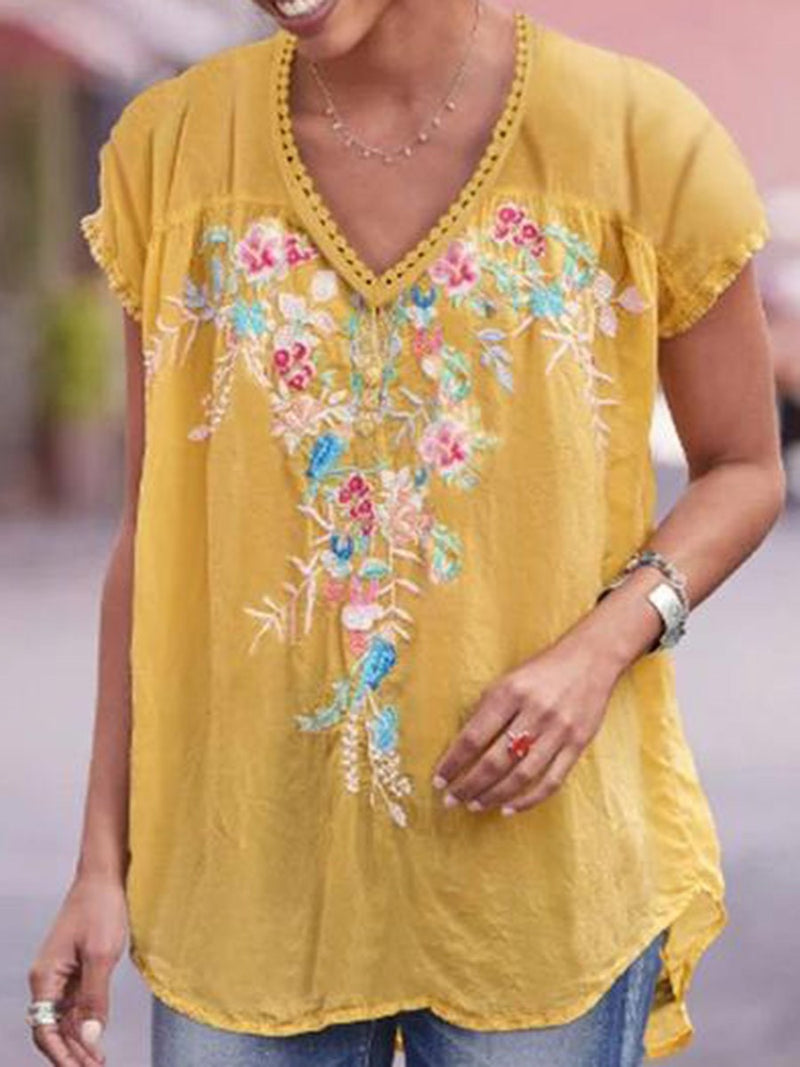 Floral V-Neck Embroidery Mid-Length Short Sleeve Blouse