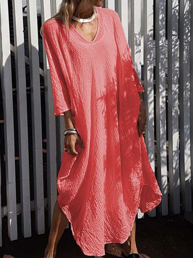V-Neck Three-Quarter Sleeve Ankle-Length Plain Casual Dress