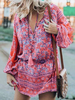Long Sleeve Print Above Knee Summer A-Line Dress