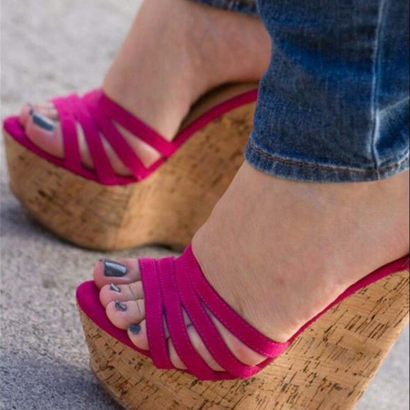 Open Toe Buckle Wedge Heel Heel Covering Casual Plain Sandals