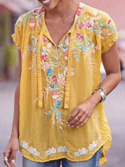 Floral Lace-Up Short Sleeve Mid-Length Blouse