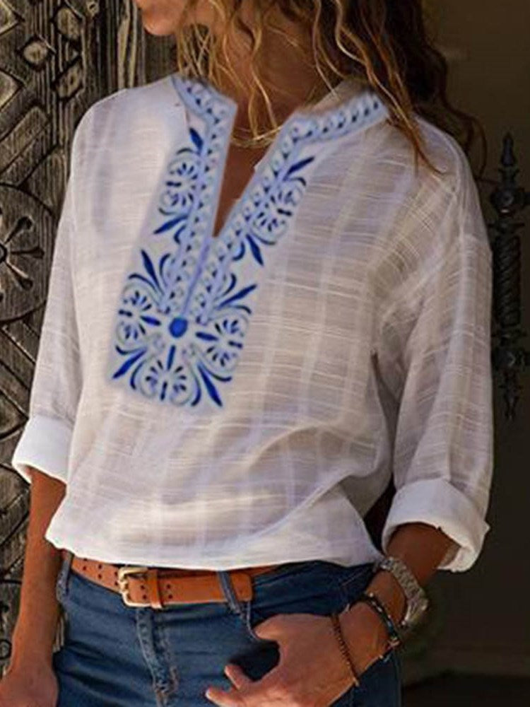 Regular Color Block Print Standard Long Sleeve Blouse