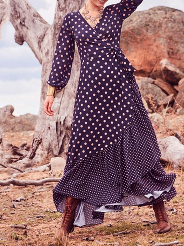 V-Neck Asymmetric Long Sleeve Pullover Polka Dots Dress