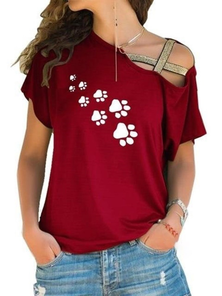 Short Sleeve Standard Oblique Collar Casual Straight T-Shirt