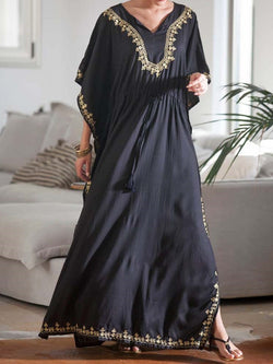 Half Sleeve Floor-Length V-Neck Batwing Sleeve Pullover Dress