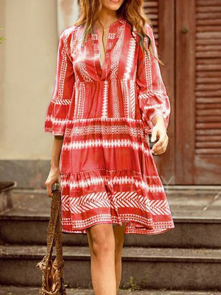 Print V-Neck Three-Quarter Sleeve Date Night/Going Out Summer Dress